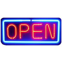 NEON Open Sign store business bright light display large big shop blue red