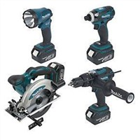 Makita DK18034 4 Piece Kit Circular Saw Combi Drill Impact Driver Torch 18V