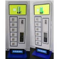 Floorstanding Advertising LED Mobille Phone Charging Station Coin Operated Vending Machine