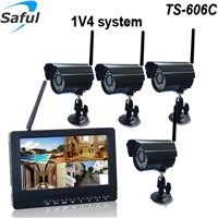 2.4GHz 4CH rainproof and vandal-proof wireless CCTV camera and monitor DVR