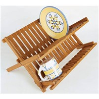 Eco-friendly Bamboo Scissor Style Folding Dish Plate Rack Flatware Holder