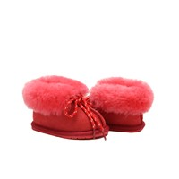 Double face sheepskin baby shoe with shoe laces