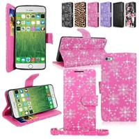 Factory For Iphone 6 Plus Glitter Case With Hand Strap And Wallet Money Pocket Card Slots