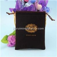 Custom Round Bottom Embossed Velvet Drawstring Pouch Bag