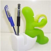 2015 new hot sell cute novel gadget toilet boy tape dispenser with pen holder