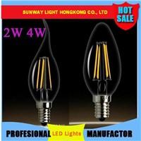 2015 Edison 2W 4W E12 E14 E27 LED Bulbs Light High Bright 120LM/W Warm White 2700K LED Lamp