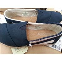 2015 Orginal TOMS University Stripe Women Navy Canvas Shoes