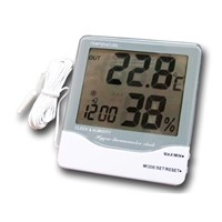 in-Outdoor Digital Thermometer Hygrometer with Clock