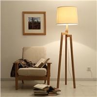 Three-legged writing/reading wooden floor lamp