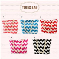 wholesale tote bag  canvas tote bag fashion chevron printed tote bag
