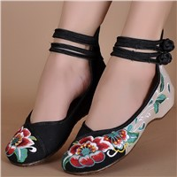 Chinese Traditional Process Women Embroidered Shoes Lady Comfortable Cloth Shoes
