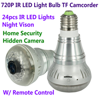 720P E27 24pcs LED Light IR Bulb Lamp Camcorder Hidden Spy H.264 CCTV Surveillance DVR
