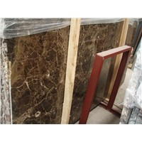 Dark Emperador marble slab and tile for wall and floor