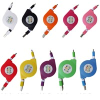 Colorful flat noodle retractable micro usb cable for smart phone