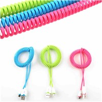 Spiral coiled colorful double 5 pin micro usb charger cable