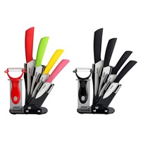 "HornTide 6-piece Ceramic Knife Set 3"" 4"" 5"" 6"" Knives with Peeler Holder"