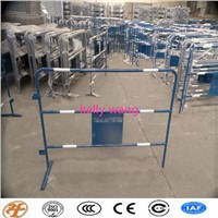 Haotian temporary powder coated road traffic barrier with advertising sign factory