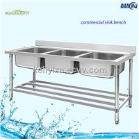 Hotel Kitchen Stainless Steel Commercial Sink With Triple Bowl