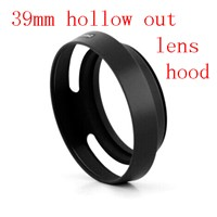 39mm vented hollow out Lens Hood For Fujifilm X10 LH-JX10 with Adapter Ring Black Metal