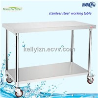 201/304 Commercial Customized Stainless Steel Work Table With Wheels