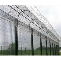 Rigid 358 Welded Mesh Fence With Razor Barbed Wire on top