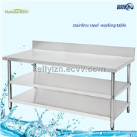 Stainless Steel 3 Tiers Kitchen Worktable With Splashback