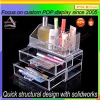 Transparent acrylic cosmetic display stand display organizer with drawers