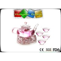 wholesale borosilicate heat resistant clear glass teapot with infuser and warmer