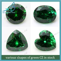Different shape hot sale CZ green synthetic diamond
