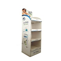 Free Standing Tanning Lotion Display Racks with Cardboard Material, Shampoo Display Stand