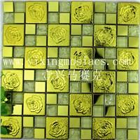 hot sell wall decorated metallic mosaic tiles mix glassmosaic tiles