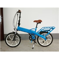 Battery inside new carrier blue electric bicycle