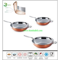 Modern kitchen 3Ply copper induction wok