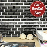 "1""x2"" glossy bathroom tile design mosaic tile with bevelled edge"
