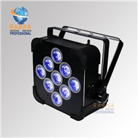 Factory Price New 9pcs*18W 6in1 RGBAW UV Battery Powered Wifi LED Flat Par Light,ADJ LED Par Light