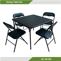 Dining room sets://Foldable table set/5 Pieces Black Metal Folding Card Table And Chairs Set