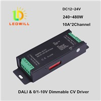 DALI & 0-10V Dimmable Driver for LED strips DC12-24V 10A*2Channels LED Dimmable Driver