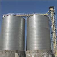 Farm feed flat bottom galvanized grain steel silo