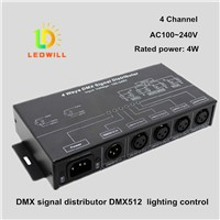 DMX512 Signal Splitter RJ45 & XLR-3 1 Input and 4 Output LED Connector led lighting LED Amplifier