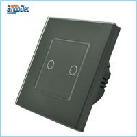 EU/UK standard glass panel 2gang 1way touch button wall light switch