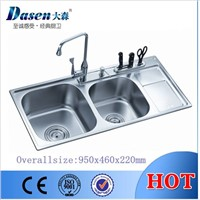 DS9546 double bowl kitchen sink with single drain board