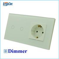 EU standard switch and socket,2gang dimmer touch switch with germany socket