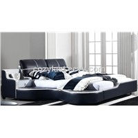 2014 fashion modern style simply bedroom furniture leather bed made in china
