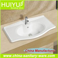 Bathroom ceramic washing basin, thin edge of basin, featheredge basin