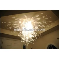 Modern Chinese hand made mouth blown white colored murano style glass ceiling light