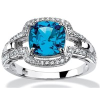 Big blue zircon stone ring designs for women,925 silver china cz rings
