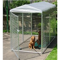 Galvanized dog kennel in pet house