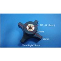 M6 copper screw nut plastic 57mm four star lock knob /female knob