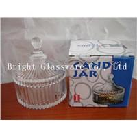 Glass candy jar, sugar jar for home decoration