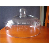 glass cake cover, glass cover with handle
